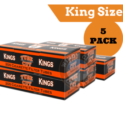 Gambler Cigarette Tubes – (Red) King size Tube Cut (200ct.) 5PACK