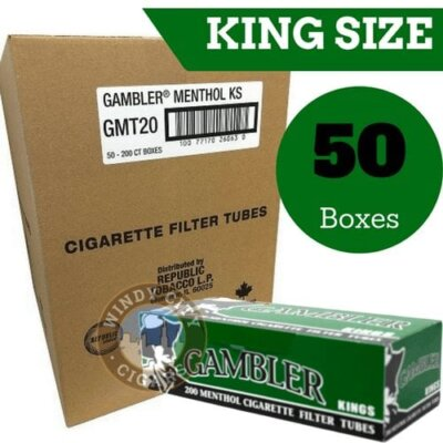Case of Gambler Menthol King Size Tubes