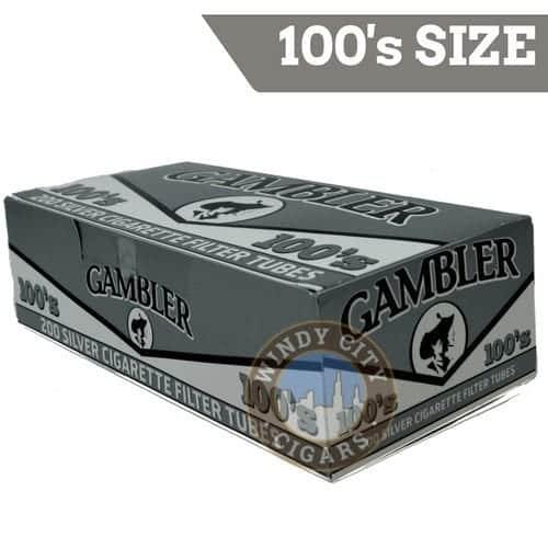 Gambler Cigarette Tubes – (Silver) 100's Tube Cut (200ct.)