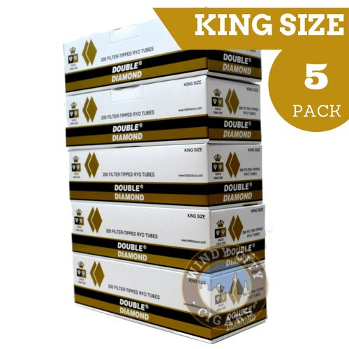 Cigarette Diamond: Double Diamond Cigarette Tubes Gold King Size (5-pack
