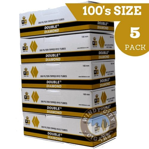 Cigarette Diamond: Double Diamond Cigarette Tubes Gold 100's (5-pack)